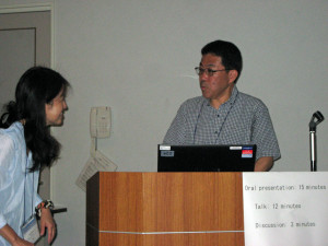 Dr  Naoto Yamamoto gives INQUA paper with Rita's assistance